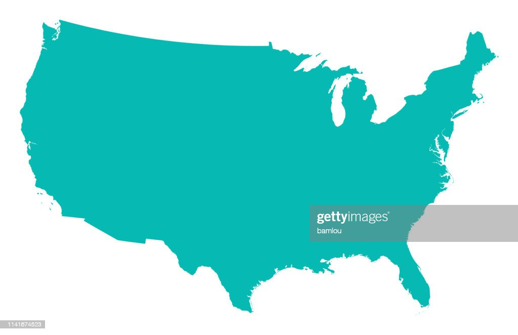 Detailed Map of the United States of America : Stock Illustration