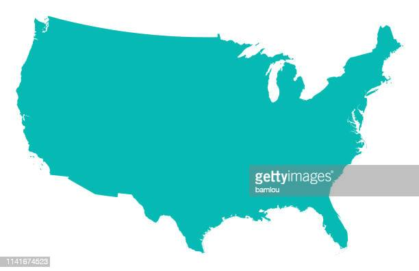 detailed map of the united states of america - usa stock illustrations