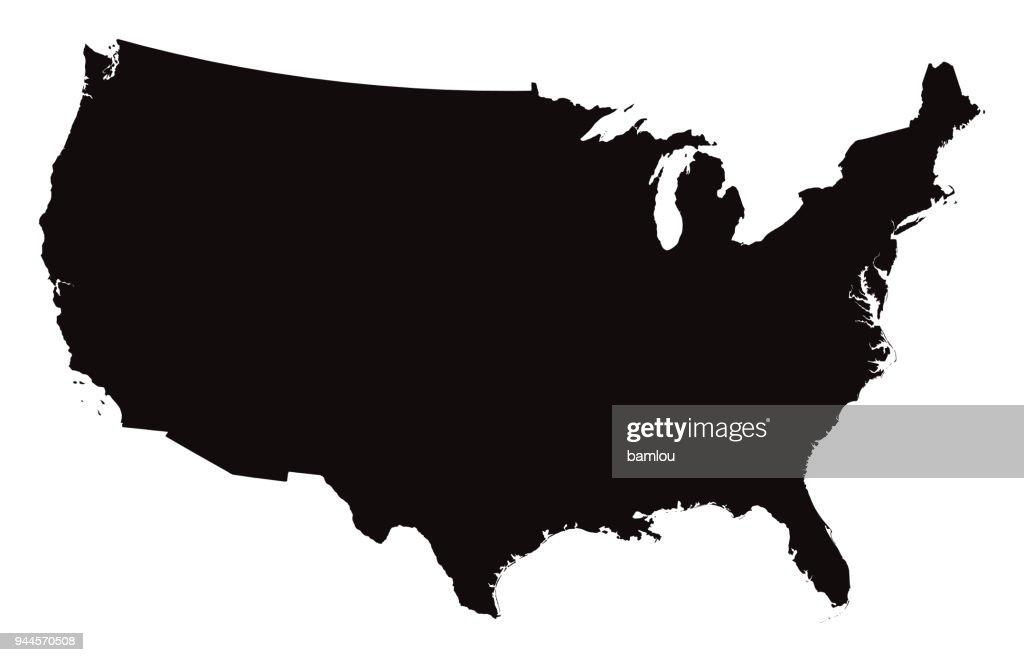 Mappa dettagliata degli Stati Uniti d'America : Illustrazione stock