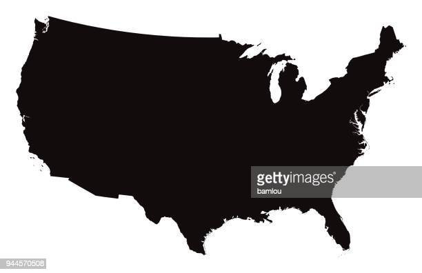 illustrazioni stock, clip art, cartoni animati e icone di tendenza di detailed map of the united states of america - carta geografica