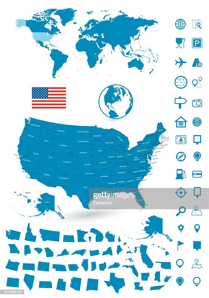 Detailed map of USA and World map navigation set