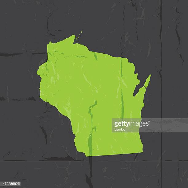 Detailed map of wisconsin state grunge style