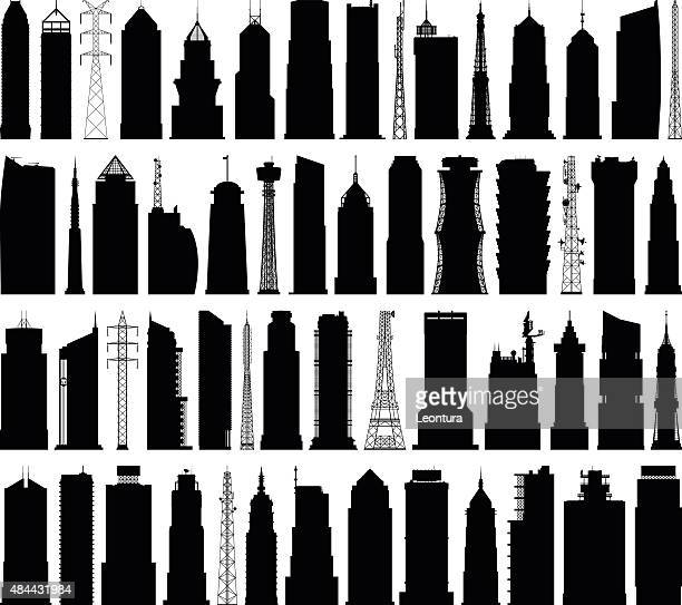 detailed modern buildings - tower stock illustrations