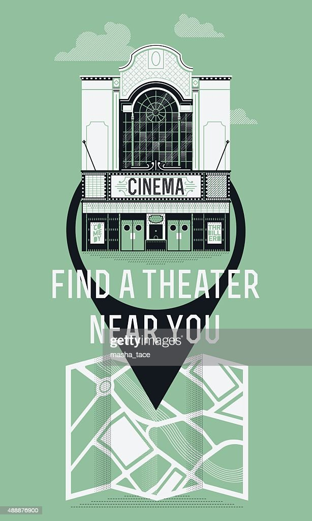 Detailed movie theater promotion poster template