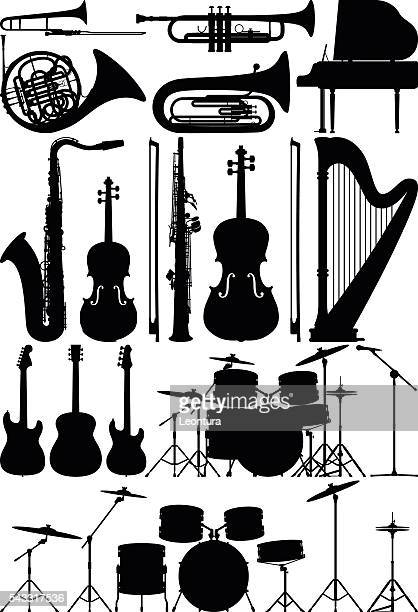 detailed musical instruments - musical instrument stock illustrations, clip art, cartoons, & icons