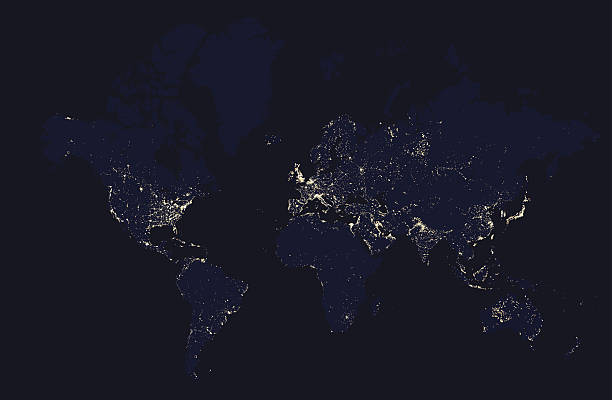 Free world by night images pictures and royalty free stock detailed night map of the world with lights cities gumiabroncs Image collections