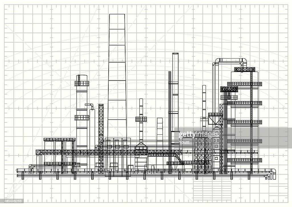 Detailed oil refinery blueprint : Stock Illustration