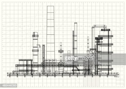 Oil refinery blueprint vector art getty images keywords malvernweather Gallery