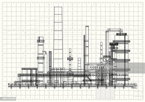 detailed oil refinery blueprint - fuel station stock illustrations, clip art, cartoons, & icons