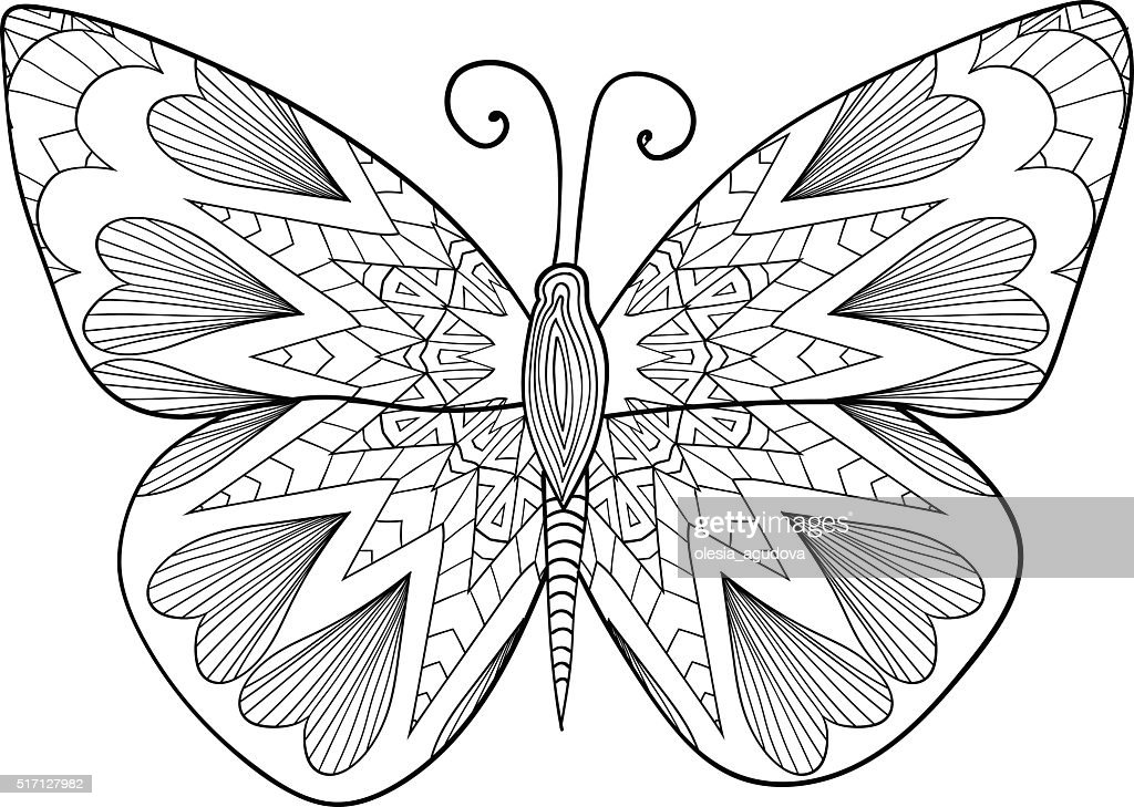 Detailed ornamental sketch of a moth. Pattern for coloring book