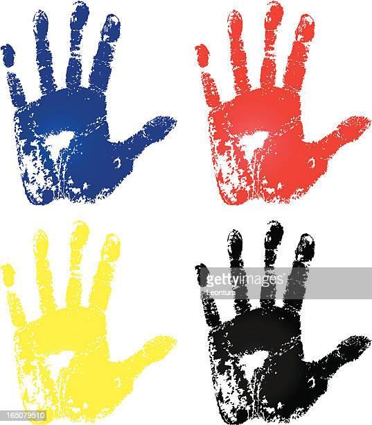 ilustraciones, imágenes clip art, dibujos animados e iconos de stock de detalle de las manos pintadas - huella de mano
