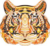 Detailed Patterned head of the tiger. African indian totem Ethnic