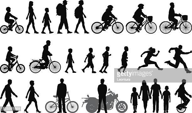 detailed people moving - bicycle stock illustrations