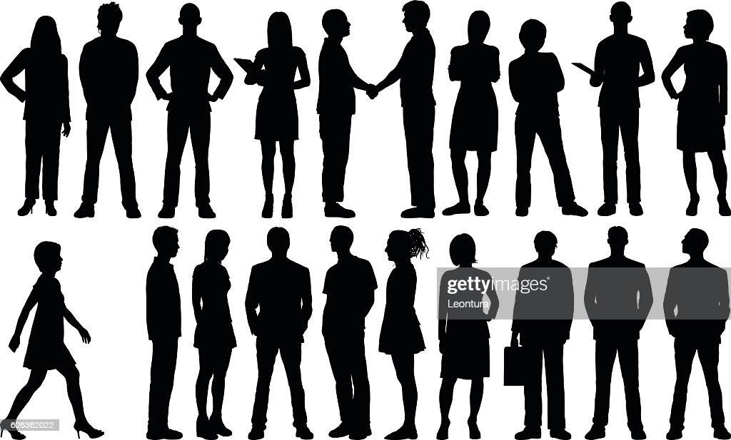 Detaillierte Personen Silhouetten : Stock-Illustration