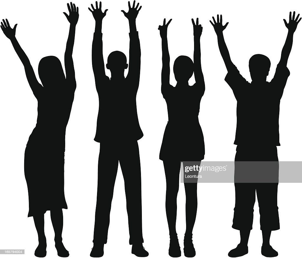 Detailed People With Hands In The Air High-Res Vector ... (1024 x 875 Pixel)