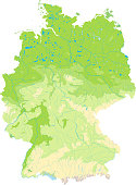 Detailed physical(topographic) map of Germany