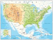 USA detailed physical map