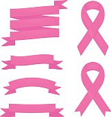 Detailed pink ribbons and badges