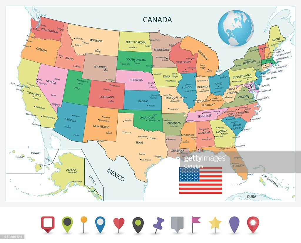 Detailed political map of the USA and flat map pointers