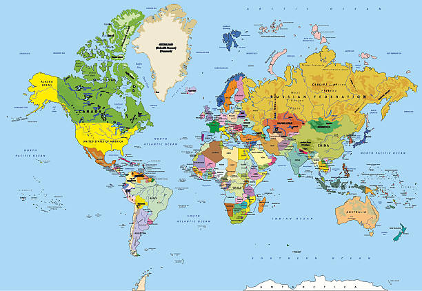 Free World Political Map Images Pictures And RoyaltyFree Stock - Detailed world map