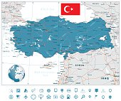 Detailed road vector map of Turkey and navigation icons