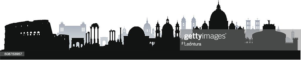 Detailed Rome Skyline (Complete, Moveable Buildings) : stock illustration