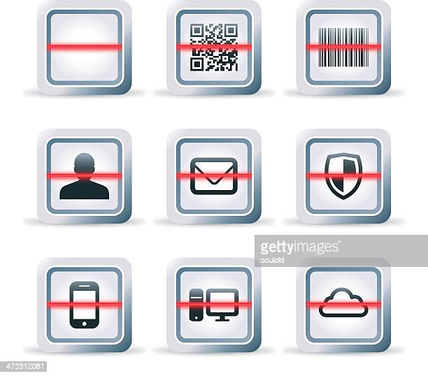 detailed scanner icon - bar code reader stock illustrations, clip art, cartoons, & icons