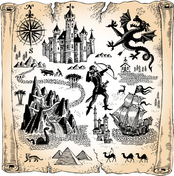 detailed scroll map with dragons, castles and pyramids - fantasy stock illustrations