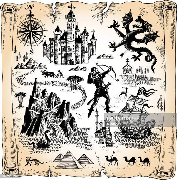 detailed scroll map with dragons, castles and pyramids - fairy tale stock illustrations