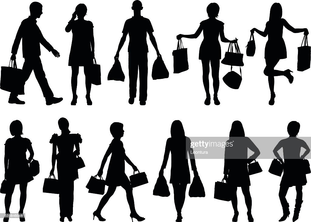 Detailed Shopping Silhouettes