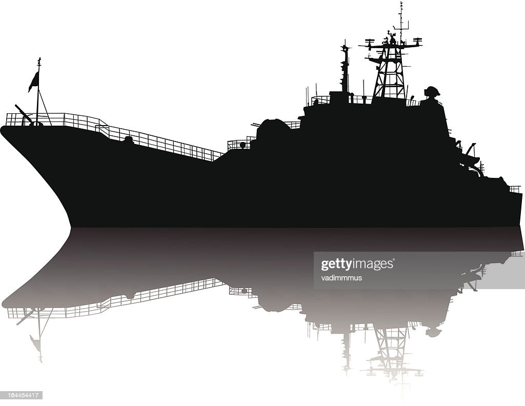Detailed silhouette of a large ship with shadow in water