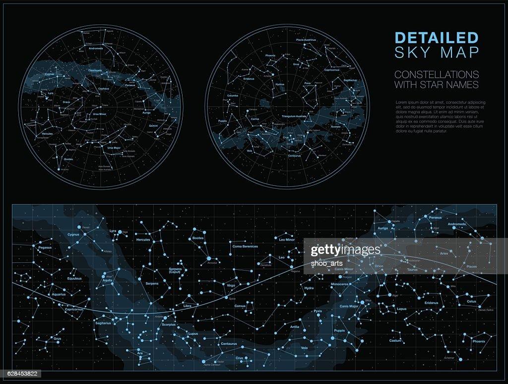 Detailed sky maps vector set