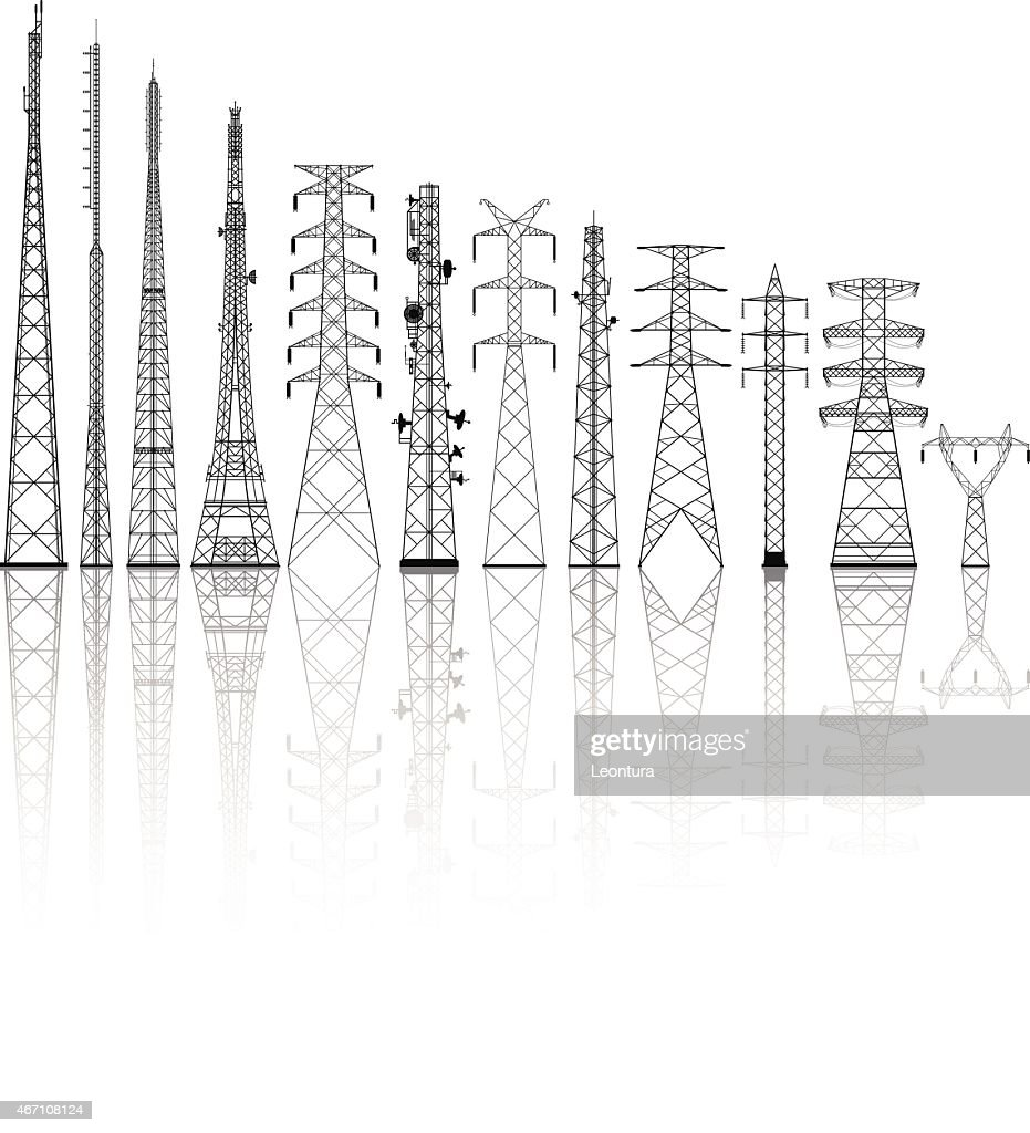 Detailed Telecommunications Towers : stock illustration