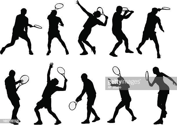detailed tennis players - tennis stock illustrations