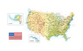 USA - detailed topographic map - illustration