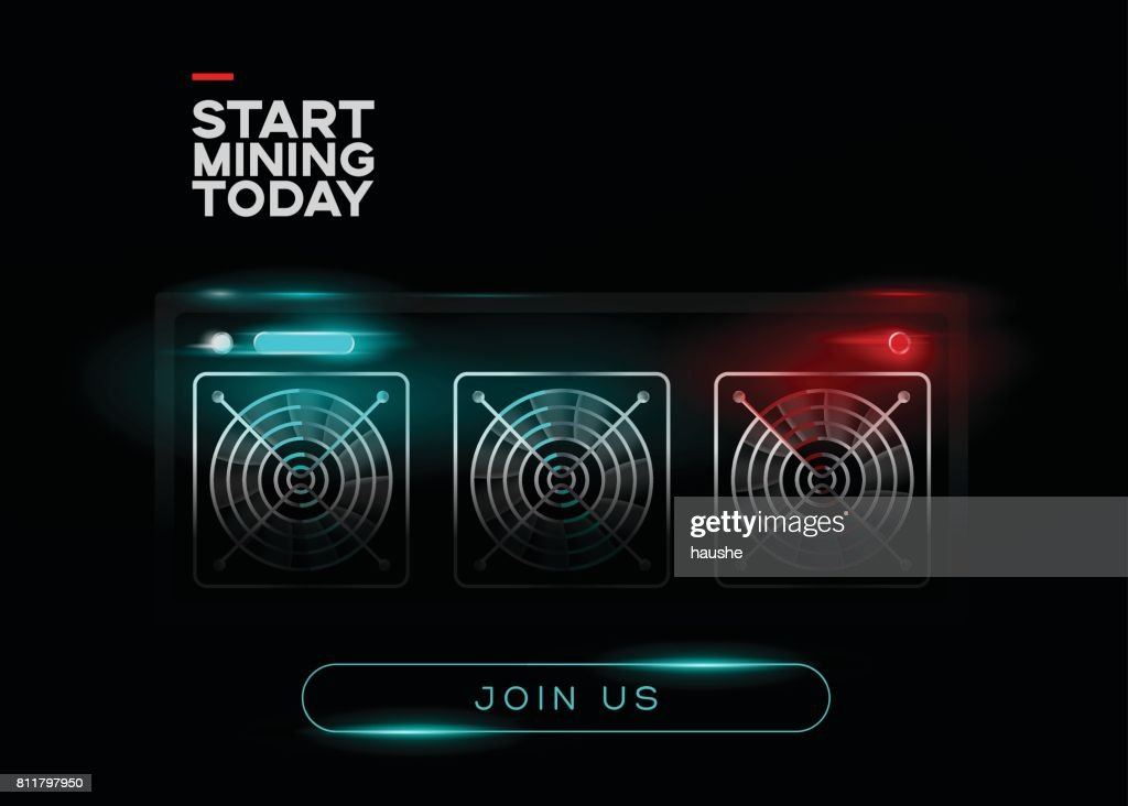 Detailed Vector Illustration of Cryptocurrency Miners on Black Background. Glowing Mining Computer.
