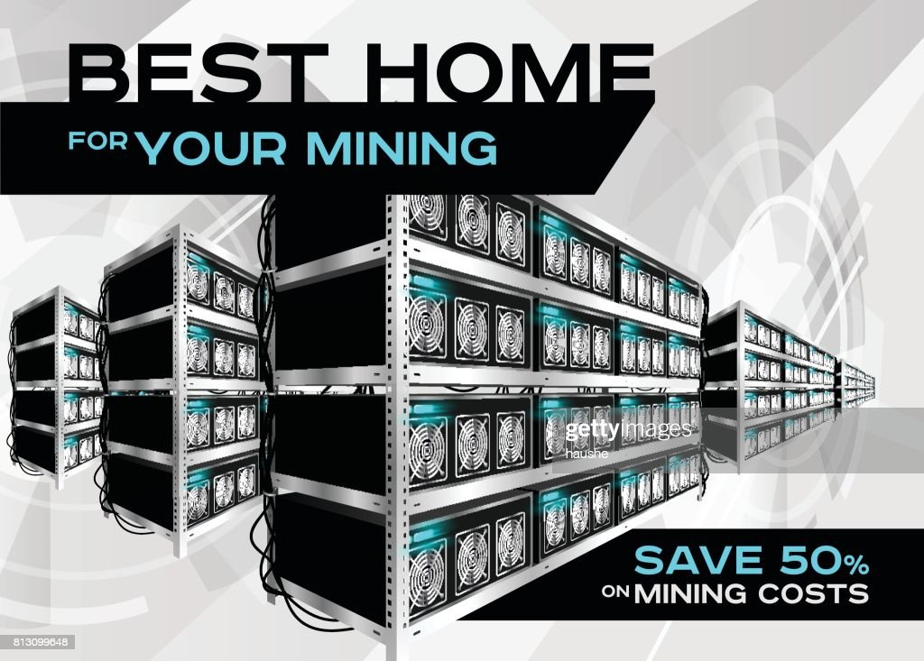 Detailed Vector Illustration of Cryptocurrency Mining Farm in Perspective.