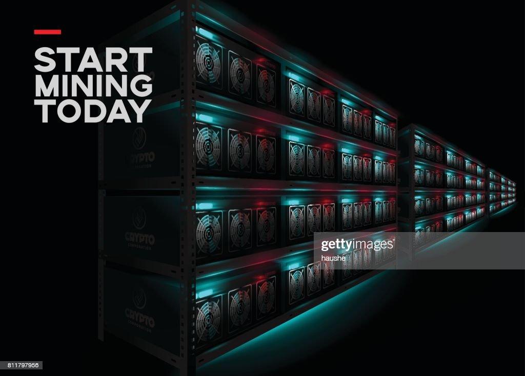 Detailed Vector Illustration of Datacenter in Dark Room. Racks of Glowing Computers in Perspective.