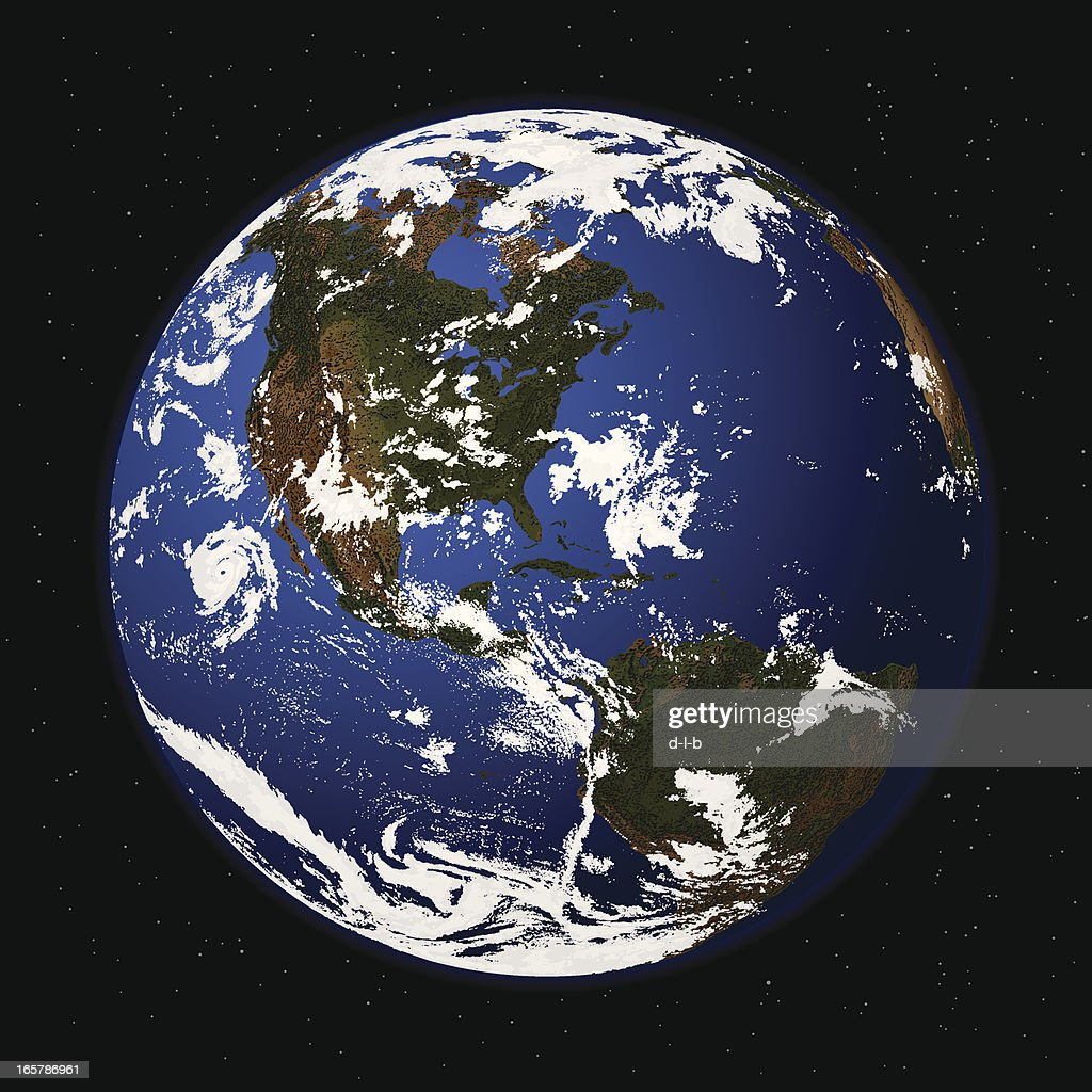 Detailed Vector Illustration of Planet Earth from Space : stock illustration