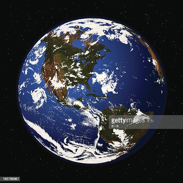 Detailed Vector Illustration of Planet Earth from Space