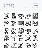Detailed Vector Line Icons Set of Activity and Hobby.64x64 Pixel Perfect and Editable Stroke.