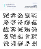 Detailed Vector Line Icons Set of Business and Teamwork.64x64 Pixel Perfect and Editable Stroke.