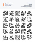 Detailed Vector Line Icons Set of Business People and Teamwork.64x64 Pixel Perfect and Editable Stroke.