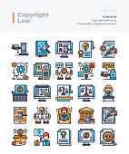 Detailed Vector Line Icons Set of Copyright Law.64x64 Pixel Perfect and Editable Stroke.