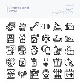 Detailed Vector Line Icons Set of Fitness and Gym .64x64 Pixel Perfect and Editable Stroke.