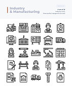 Detailed Vector Line Icons Set of Industry and Manufacturing.64x64 Pixel Perfect and Editable Stroke.