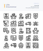 Detailed Vector Line Icons Set of Life Insurance .64x64 Pixel Perfect and Editable Stroke.