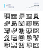 Detailed Vector Line Icons Set of Web Hosting .64x64 Pixel Perfect and Editable Stroke.