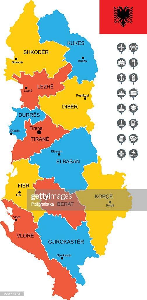 Mappa vettoriale dettagliata di Albania : Illustrazione stock