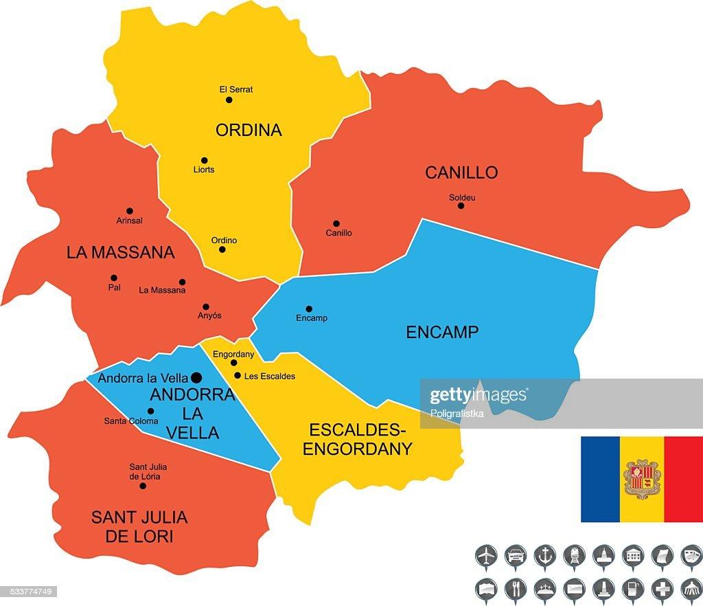Mappa vettoriale dettagliata di Andorra : Illustrazione stock